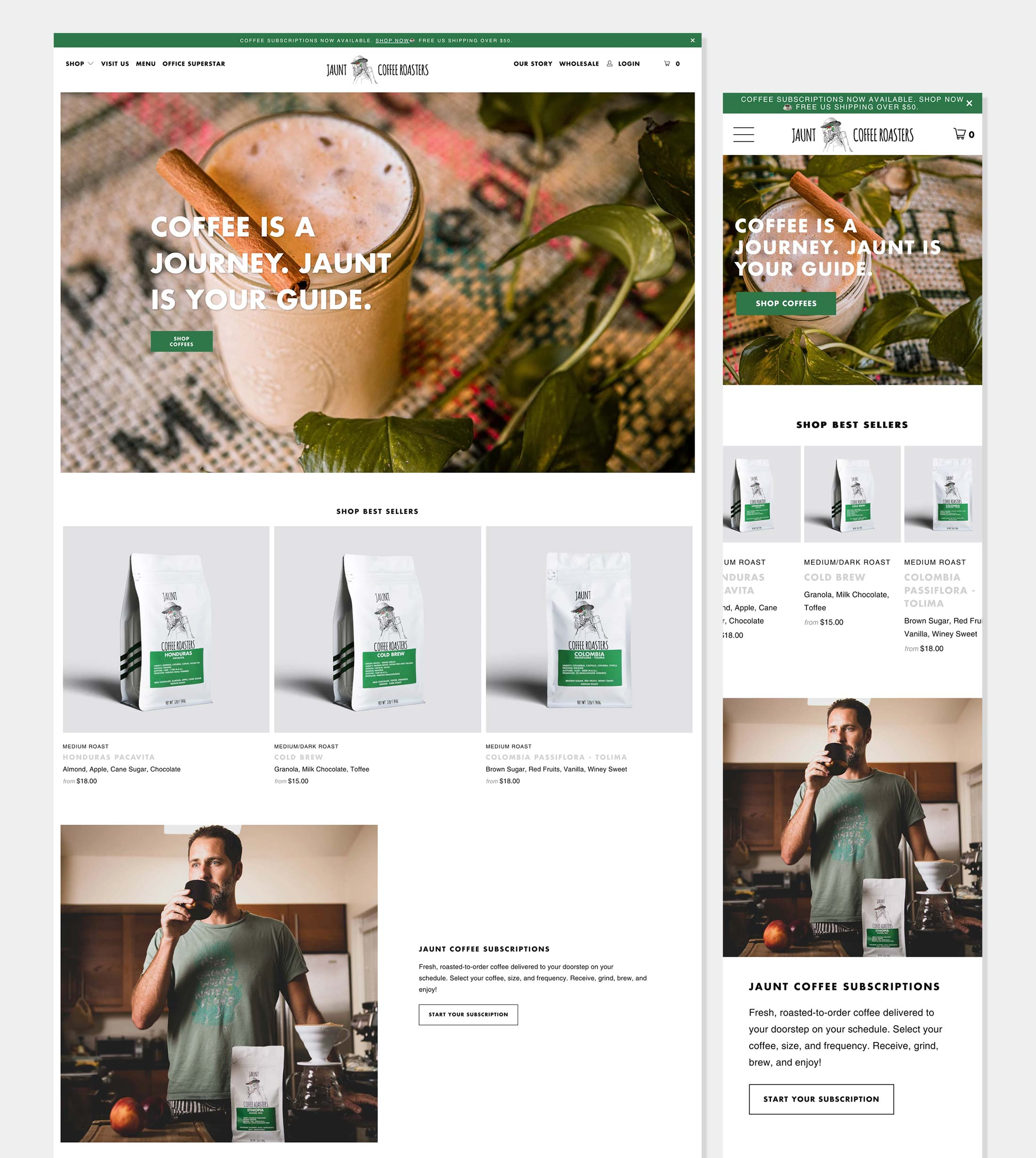 Jaunt Coffee Roasters home page