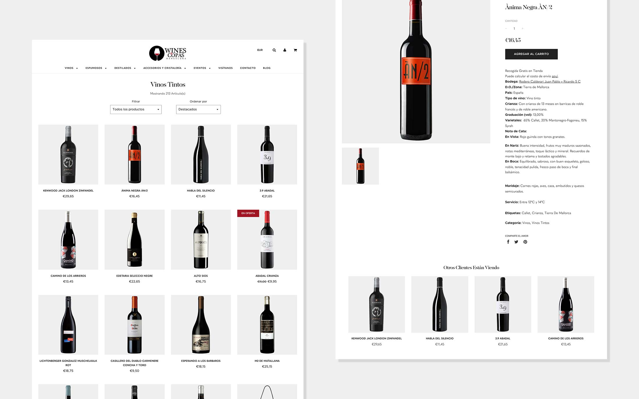 Wines and Copas Barcelona Shopify Development