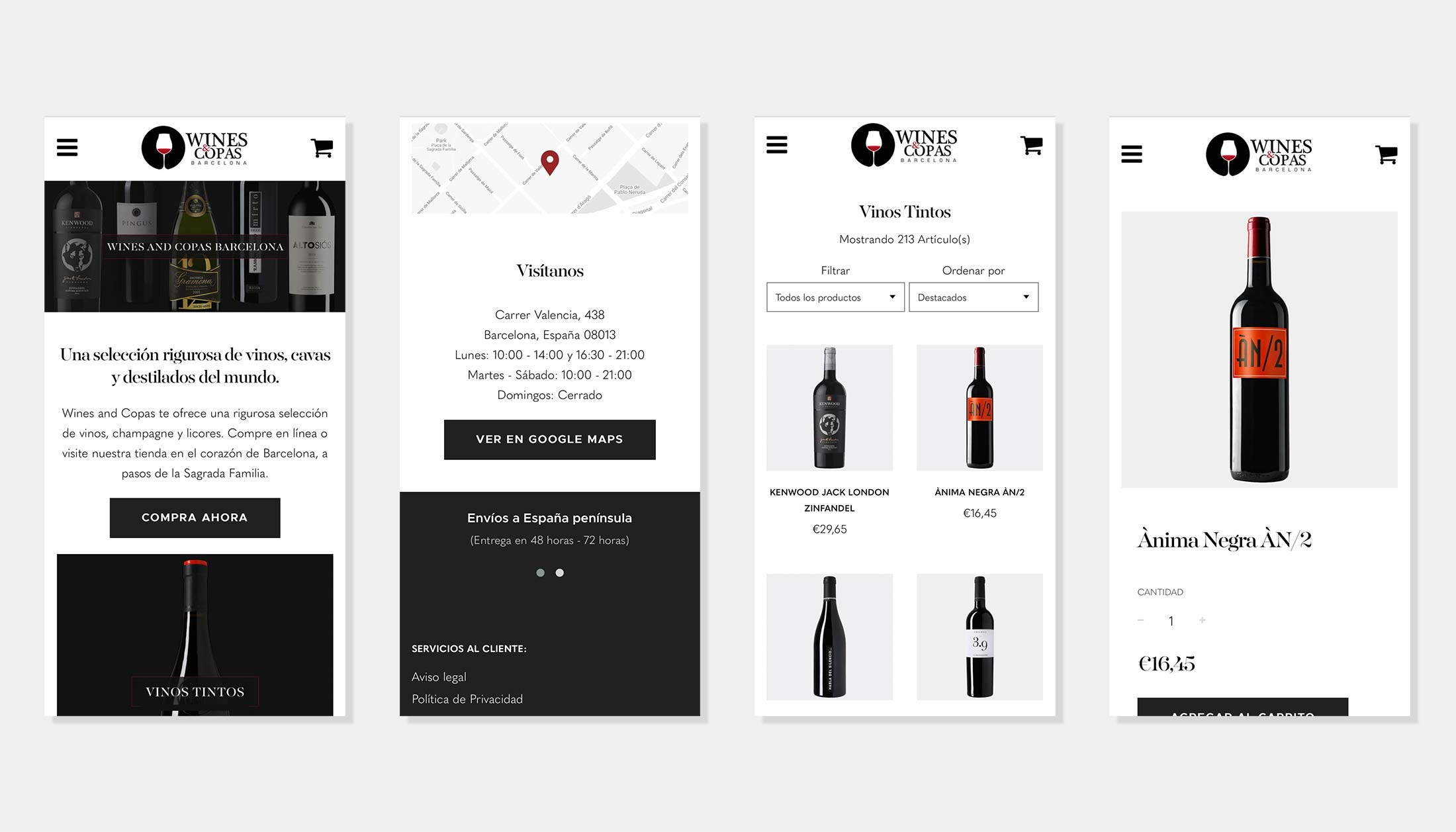 Wines and Copas Barcelona Mobile Layout